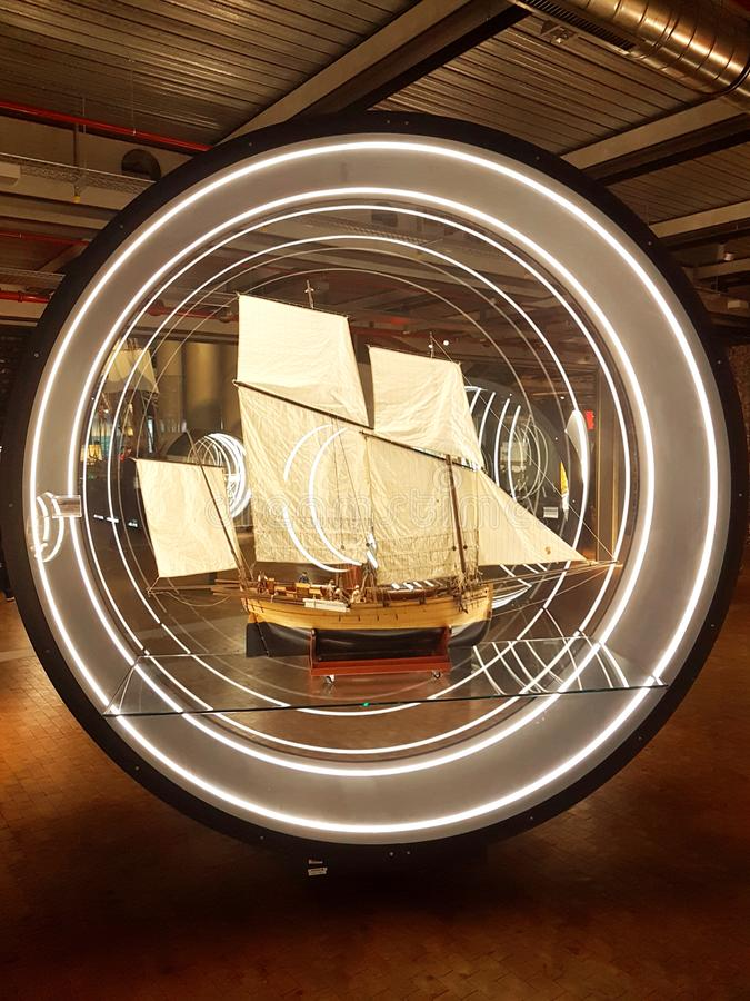 sailship miniature models at naval exhibition royalty free stock images