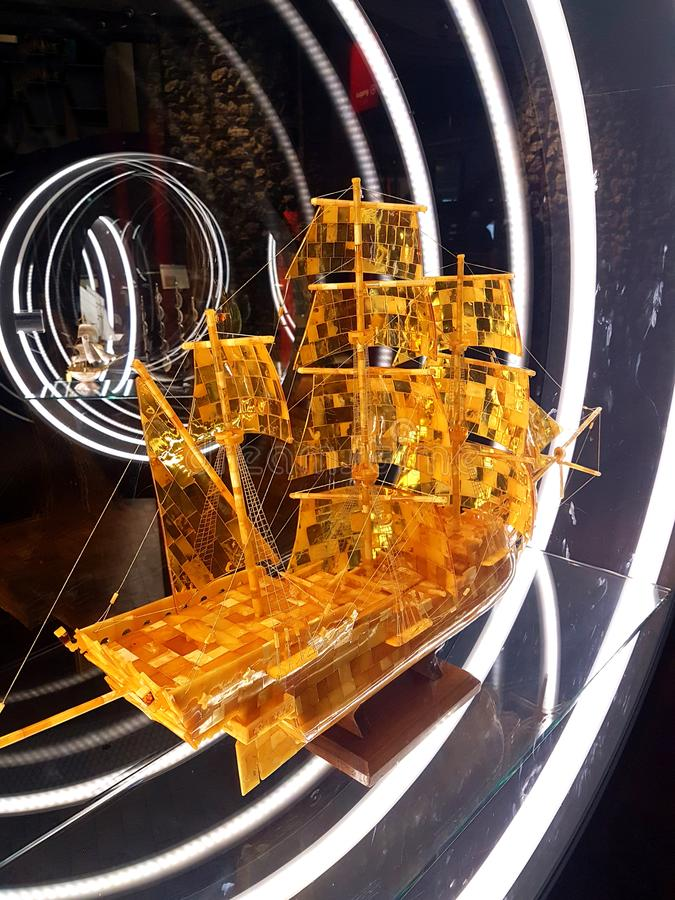 sailship miniature models at naval exhibition royalty free stock photography