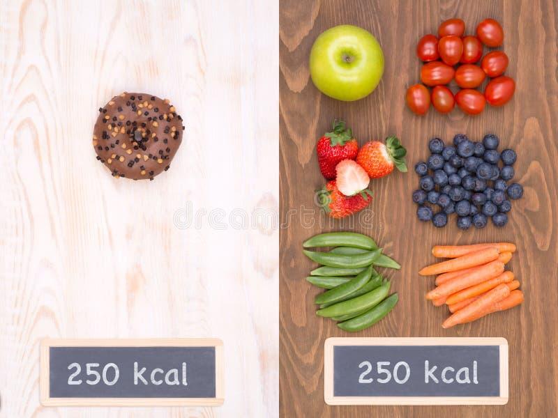 Sain contre le concept malsain de nourriture photos stock