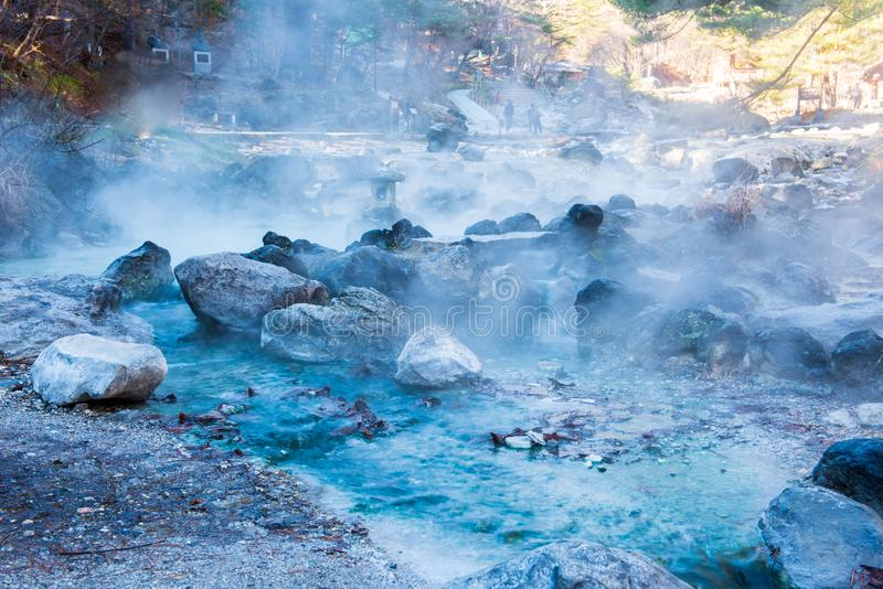 Sainokawara公园温泉在Kusatsu onsen 库存图片