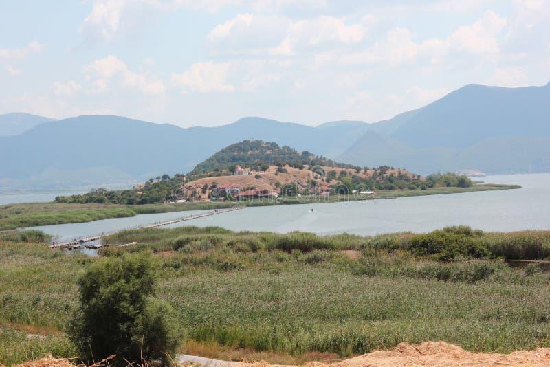 Saint Achilleios island at Prespes Lake Florina northern Greece. Europe stock images