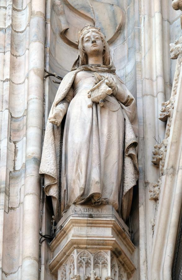 Saint Adelaide of Italy, statue on the Milan Cathedral royalty free stock images