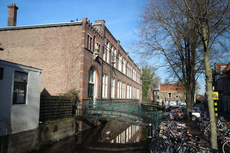 Saint aloysius primary school at the spieringstraat in old town of Gouda in the Netherlands royalty free stock image
