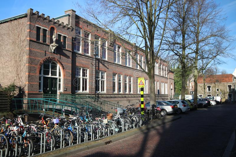 Saint aloysius primary school at the spieringstraat in old town of Gouda in the Netherlands royalty free stock images
