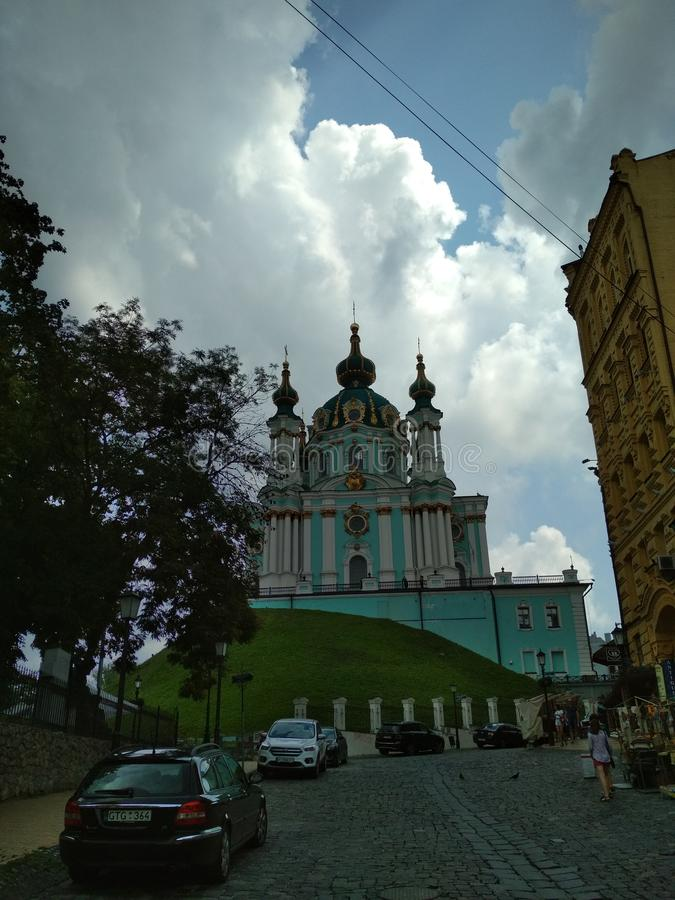 The Saint Andrew church in the city of Kiev in Ukraine stock photography