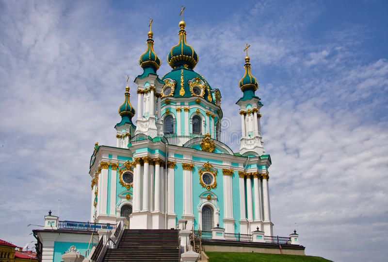 The Saint Andrew`s Church Kiev Ukraine royalty free stock photography