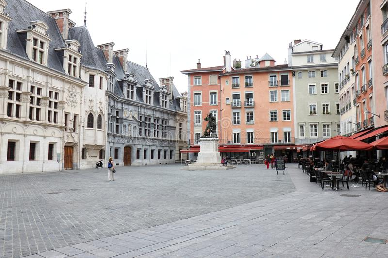 Saint-Andrew square and bronze statue of Chevalier Bayard, Grenoble, France stock image