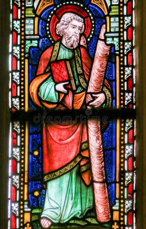 Saint Andrew - Stained Glass in Sint Truiden Cathedral royalty free stock photos