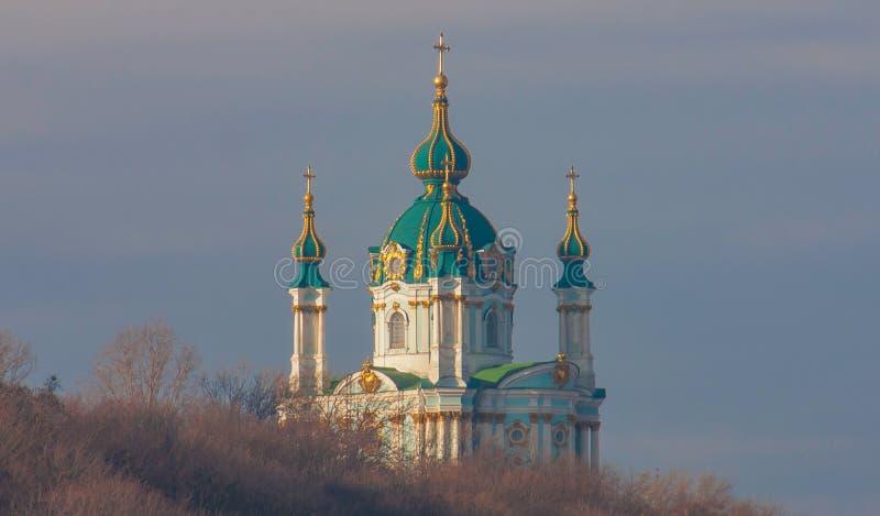Saint Andrewskathedraal in Kiev, de Oekraïne royalty-vrije stock afbeelding