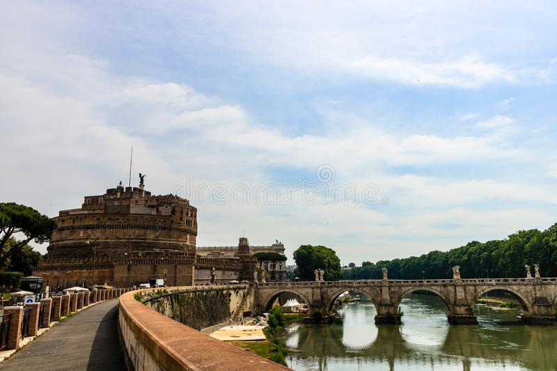 Saint Angel Castle and bridge over the Tiber river in Rome, Italy. Castel Sant`Angelo. stock photos