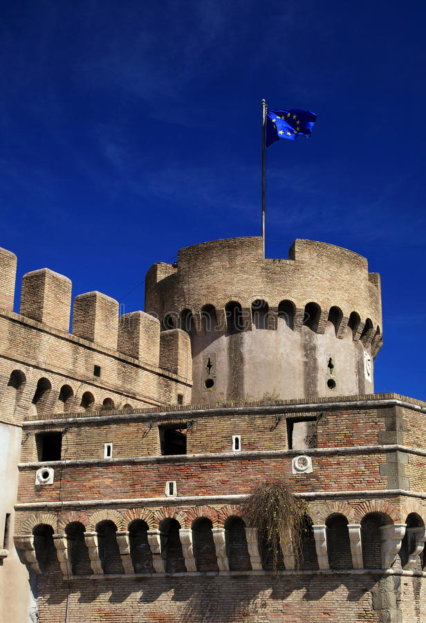 Saint Angel Castle and the Mausoleum of Hadrian. In Rome royalty free stock image