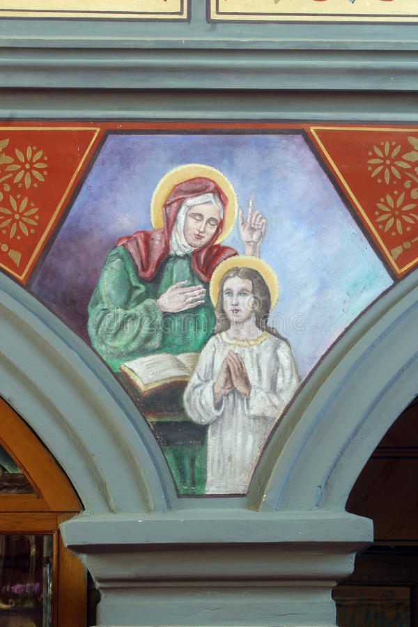 Saint Ann. Fresco painting in the church royalty free stock image