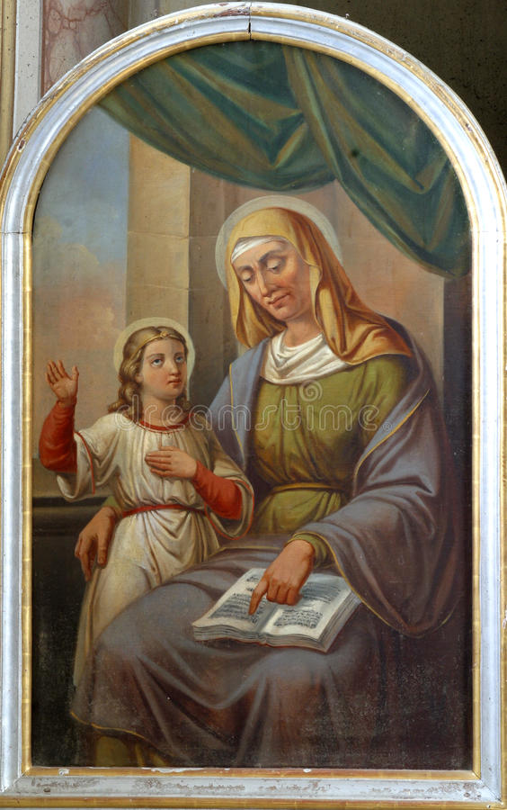 Saint Ann. Painting on the church altar royalty free stock image
