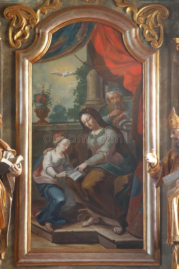Saint Ann. Painting on the church altar stock photos