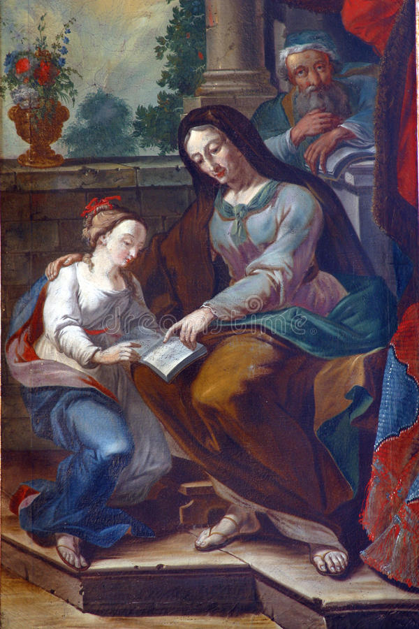 Saint Ann. Painting on the church altar stock photography