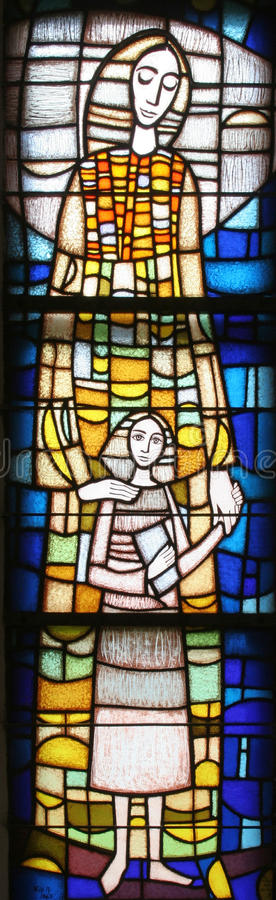Saint Ann. Stained glass church window royalty free stock photos