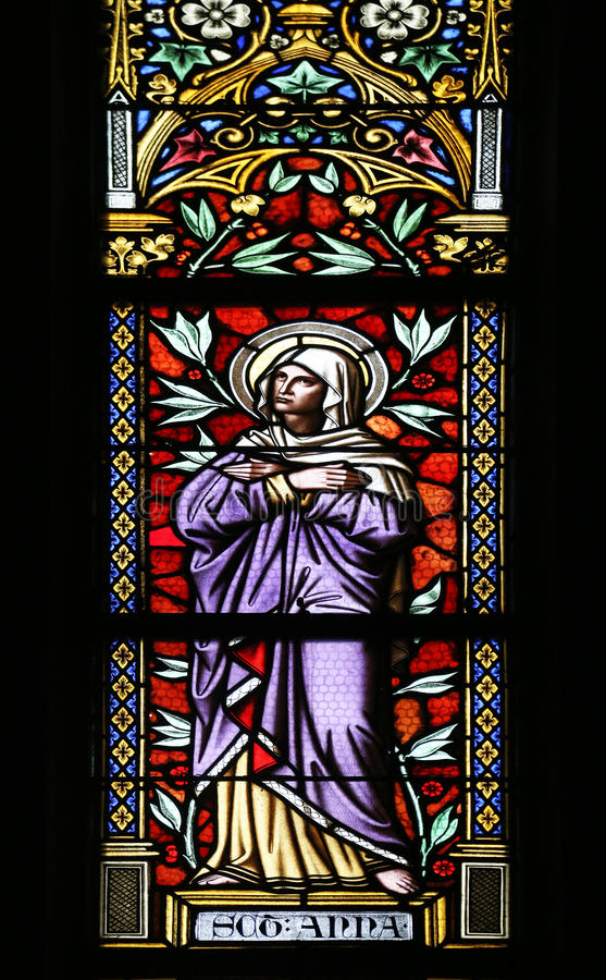 Saint Ann. Stained glass window in parish church of Saint Mark in Zagreb, Croatia stock photo