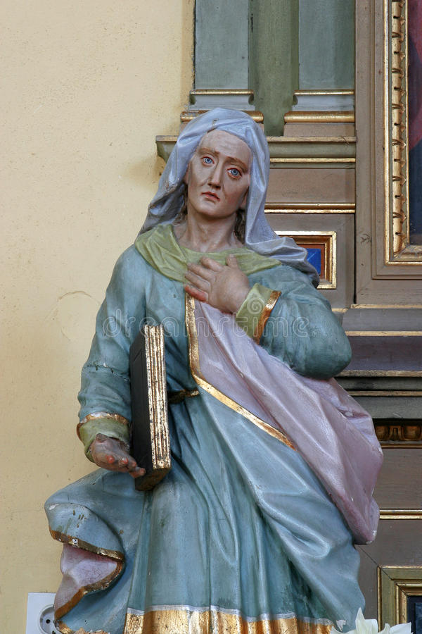 Saint Ann. Statue at the altar in the Parish Church of Saint Joseph in Sisljavic, Croatia stock photo