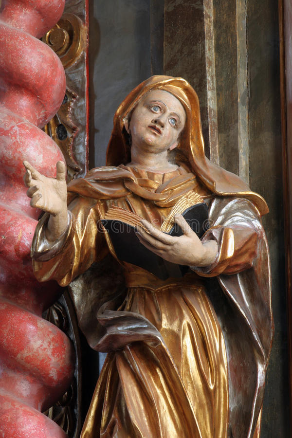 Saint Ann. Statue on the church altar royalty free stock photography