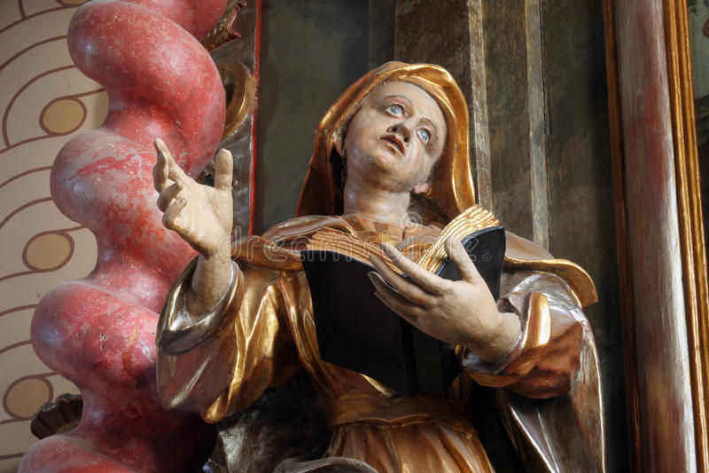 Saint Ann. Statue on the church altar royalty free stock image