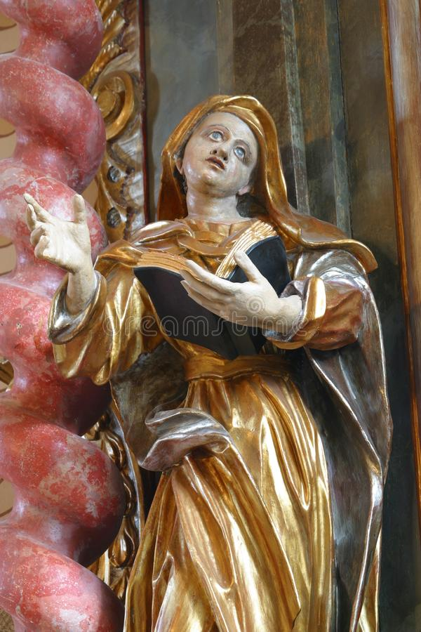 Saint Ann. Statue on the church altar stock image