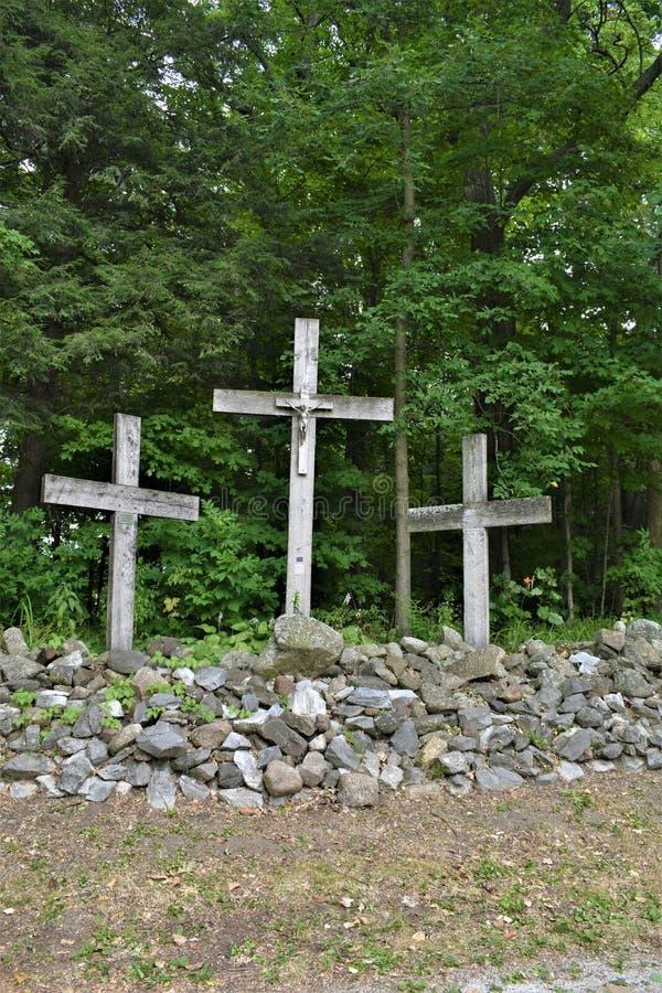Saint Anne`s Shrine, St. Anne's Shrine, Isle La Motte, Grand Island County, Vermont, United States US. Lake Champlain. Three crosses , located on the site stock photos