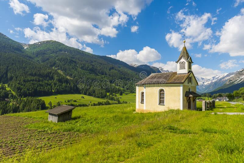 Saint Anthony Chapel near Alpine town Trins. Small saint Anthony Chapel near Alpine town Trins - not far from Brenner pass - in Austria stock image