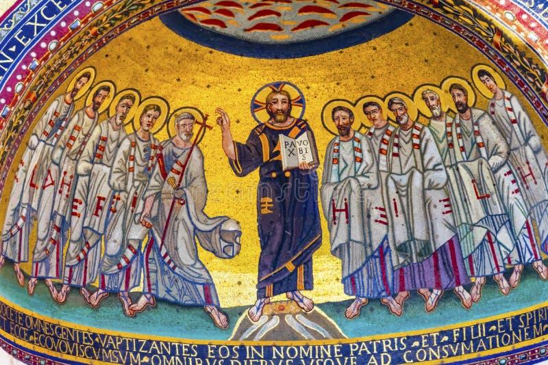 Saint antigo John Lateran Rome Italy de Jesus Mosaic Triclinium Leoninum Outside fotos de stock