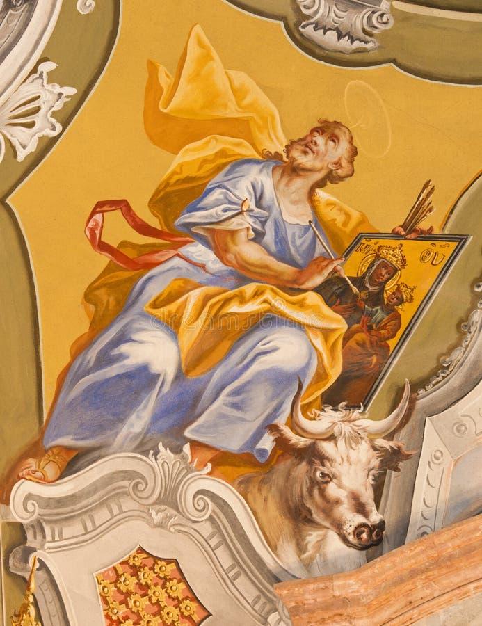 Saint Anton - Saint Luke the Evangelist fresco. Saint Luke the Evangelist fresco from ceiling of chapel in Saint Anton palace by Anton Schmidt from years 1750 royalty free stock photo