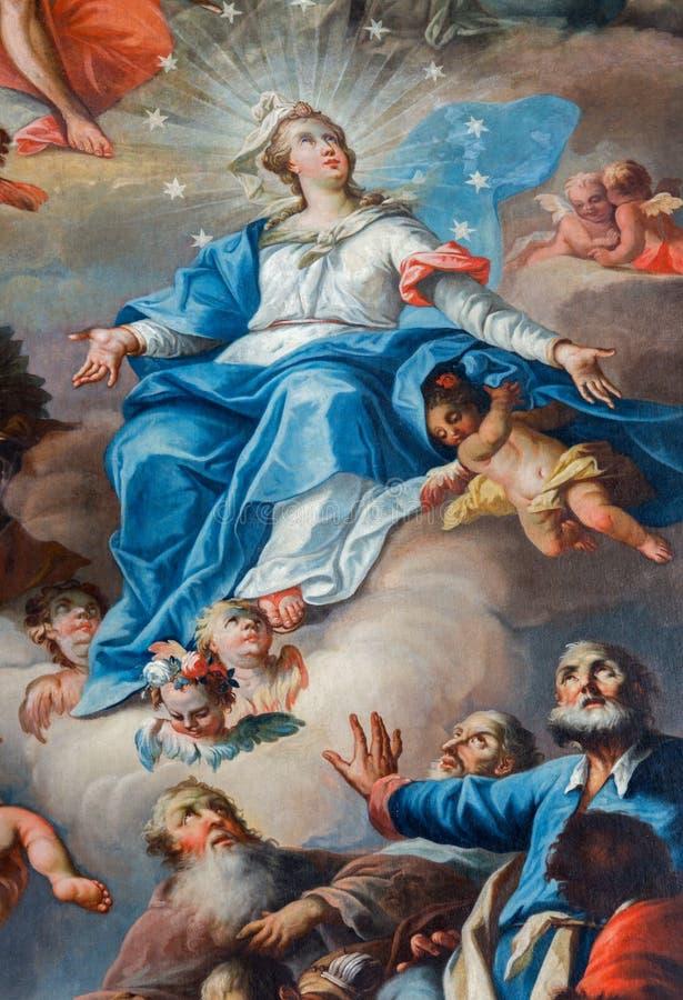 Saint Anton - suposição da pintura da Virgem Maria imagens de stock royalty free