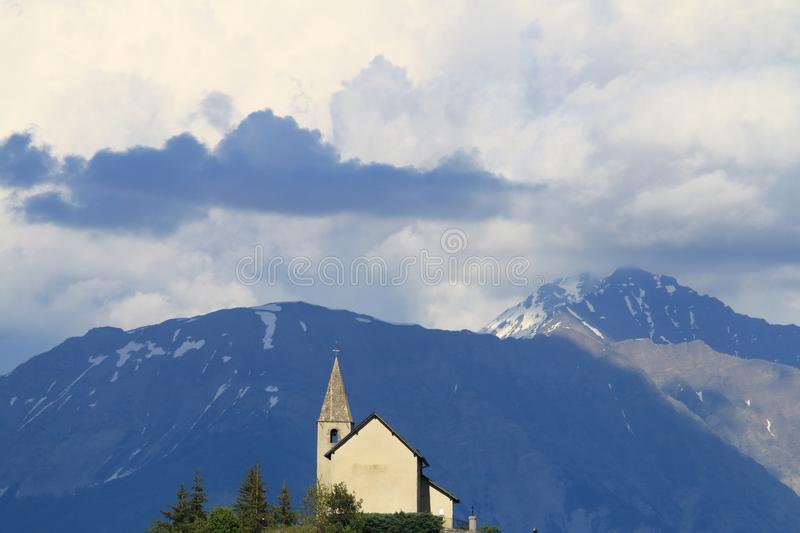 Church of Saint-Apollinaire in french Hautes-Alpes stock image