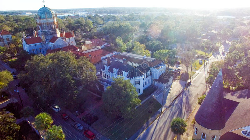 Saint Augustine, Florida. Aerial view at dusk stock images