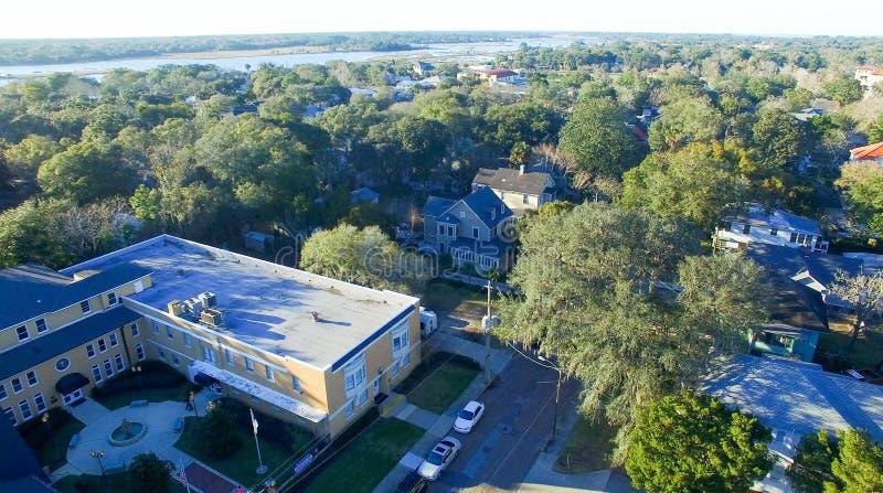 Saint Augustine, Florida. Aerial view at dusk stock photo