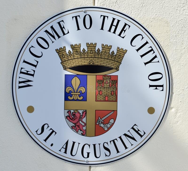 Saint Augustine Florida Welcome Sign foto de stock