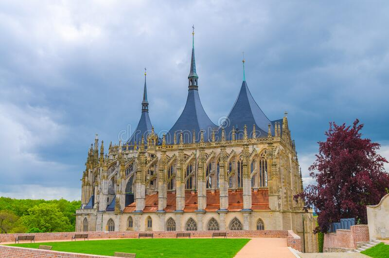 Saint Barbara`s Church Cathedral of St Barbara Roman Catholic church Gothic style building in Kutna Hora historical Town Centre. Saint Barbara Church Cathedral stock photo
