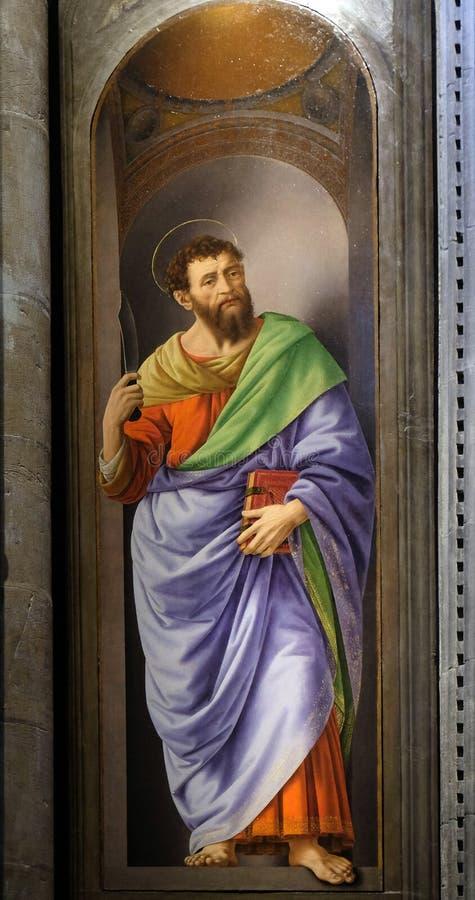 Free Saint Bartholomew Painting By Lorenzo Di Credi, Orsanmichele Church In Florence Stock Images - 141197974