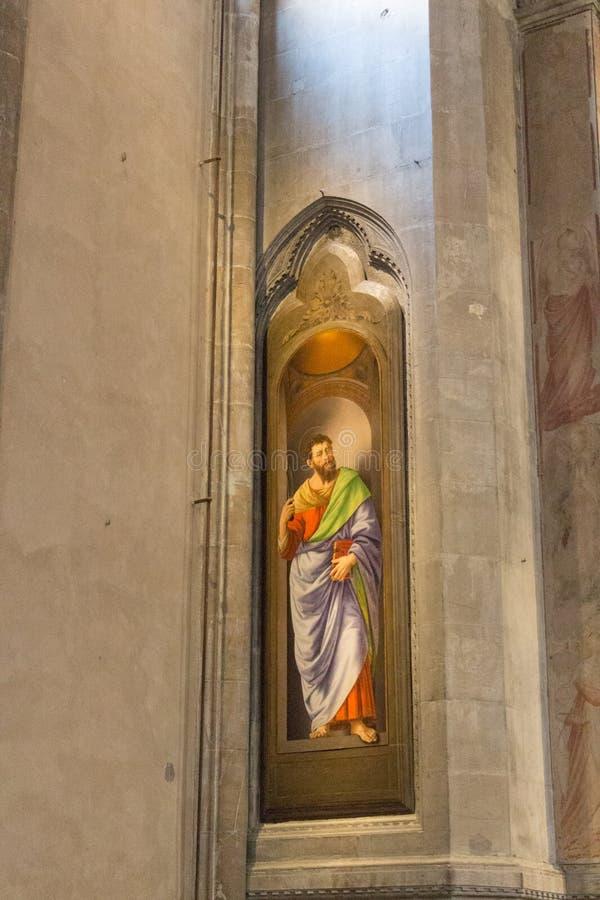 Saint Bartholomew painting in Orsanmichele Church, Florence, Italy stock photo