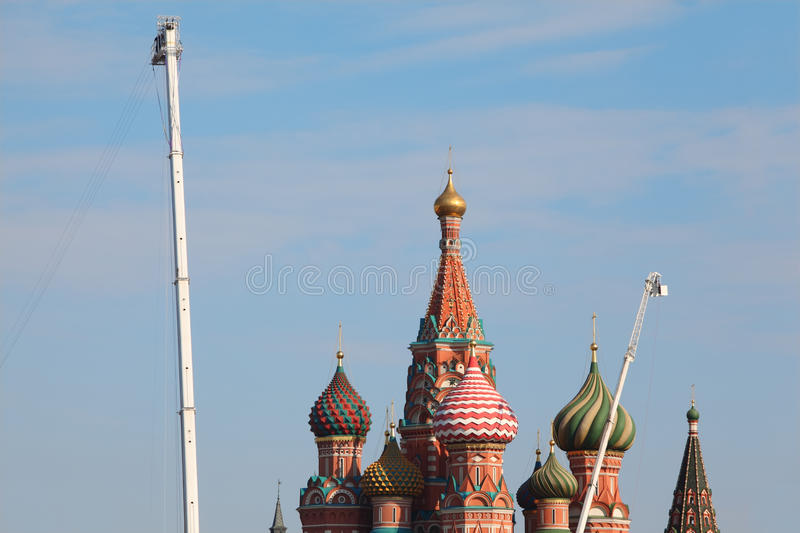 Saint Basil cathedral with multicolored cupolas stock photos