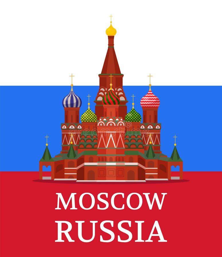 Saint Basil Cathedral no cartaz da cor da bandeira do russo ilustração do vetor