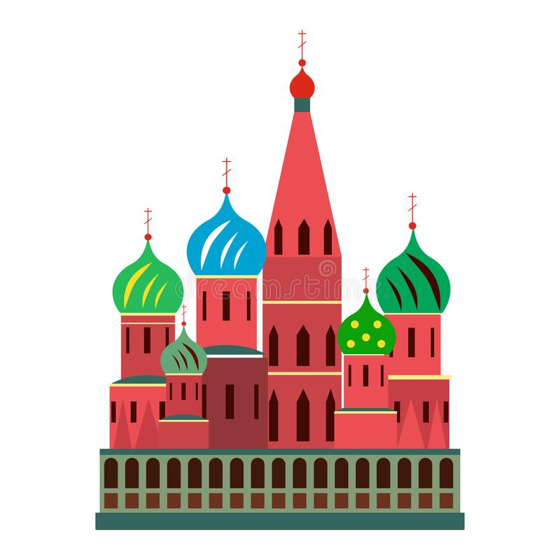 Saint Basil cathedral. In Moscow, Russia. Flat style stock illustration