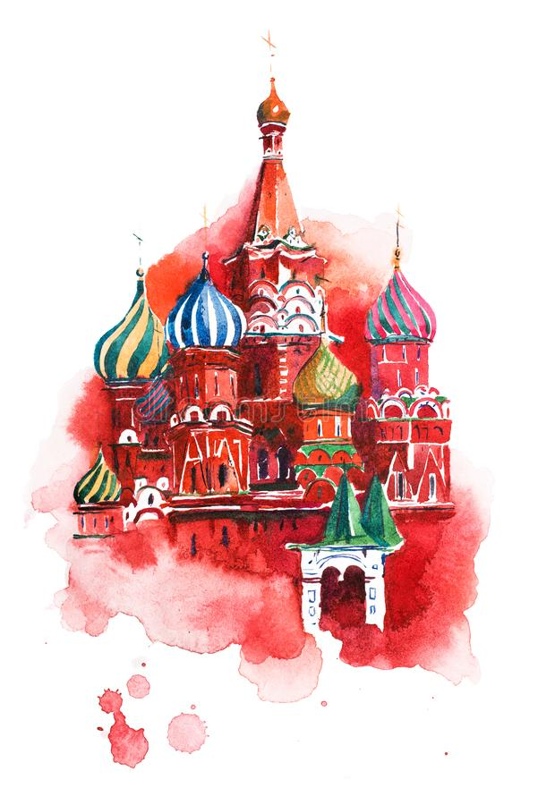 Saint Basil Cathedral Watercolor de place rouge de Moscou Russie illustration libre de droits