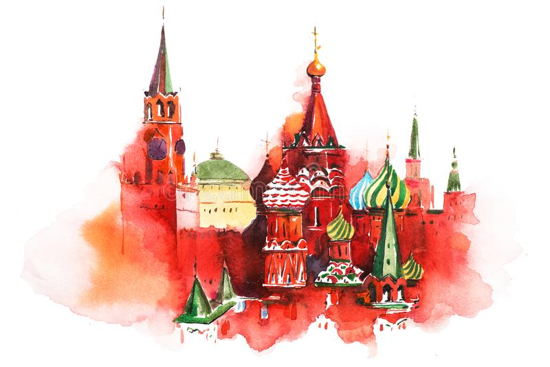 Saint Basil Cathedral Watercolor do quadrado vermelho de Moscou Rússia ilustração do vetor