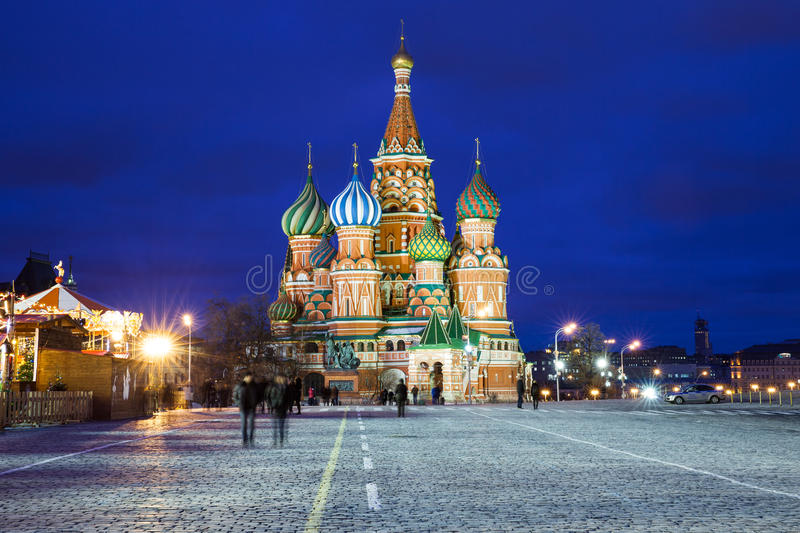 Saint Basils Cathedral at night royalty free stock images
