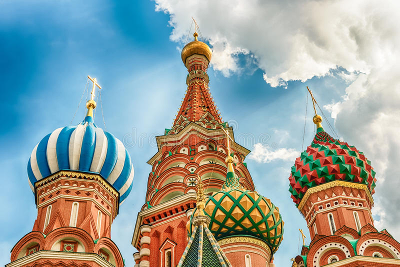 Saint Basil's Cathedral on Red Square in Moscow, Russia. The scenic orthodox Saint Basil's Cathedral, iconic landmark on Red Square in Moscow, Russia stock photos
