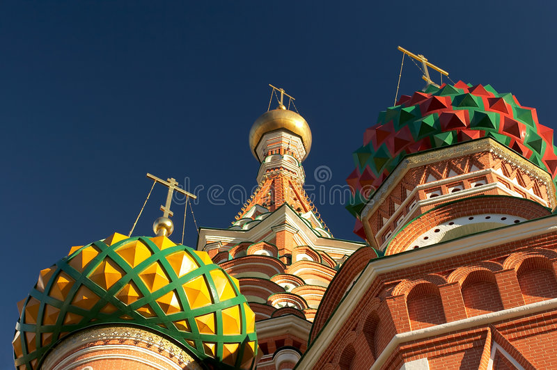 Saint Basil's cathedrals domes. Moscow, Russia. Closeup. Closeup �olorful Saint Basil's cathedrals domes. Moscow, Russia stock photo