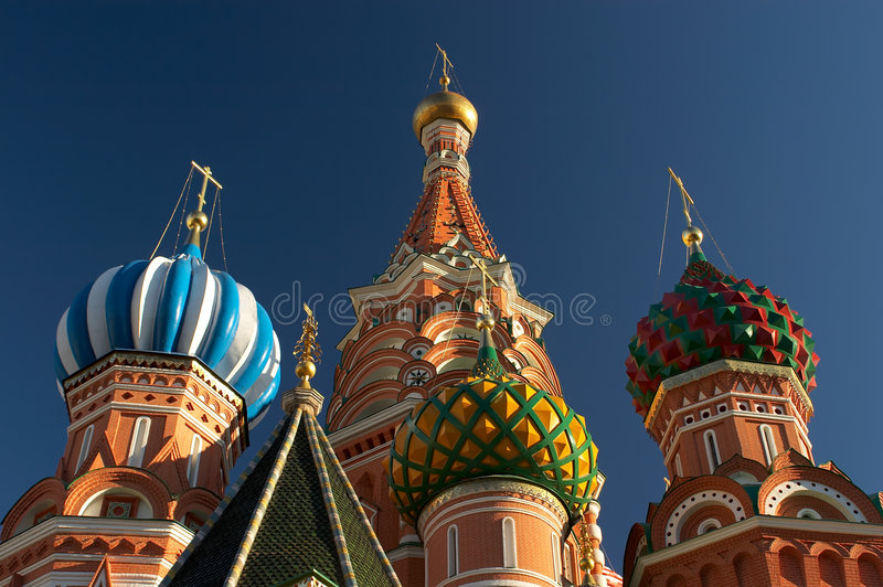 Saint Basil's cathedrals domes. Moscow, Russia. Closeup stock image