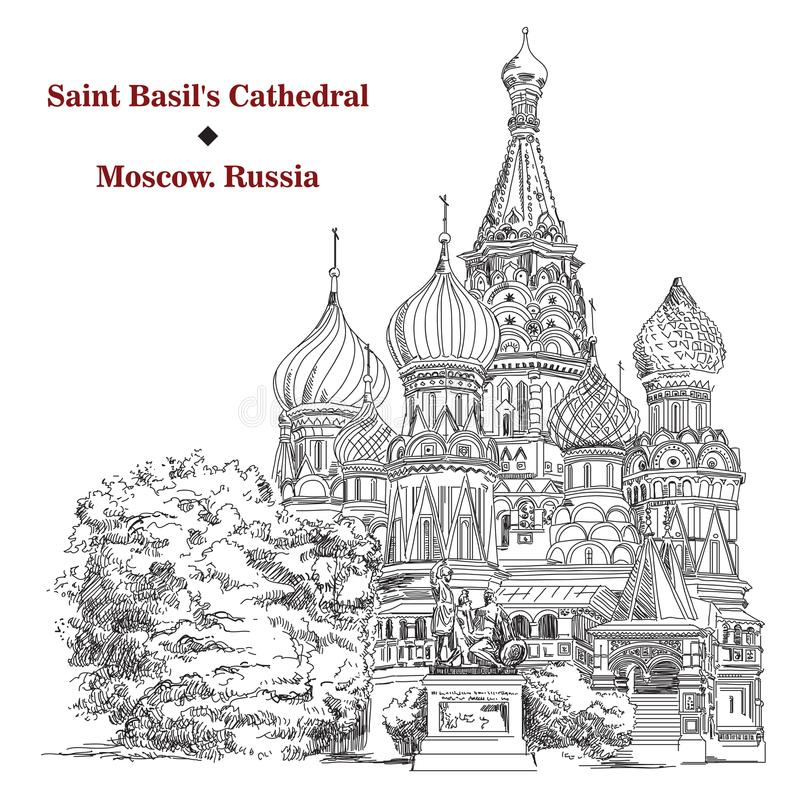 Saint Basils Cathedral in Moscow, vector hand drawing image royalty free illustration