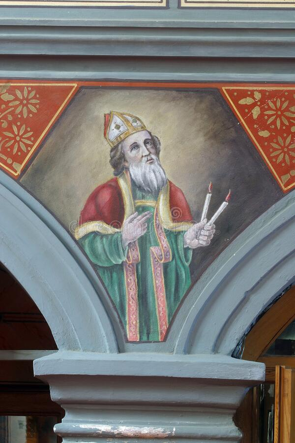 Saint Blaise, a fresco in the church of Helena in Zabok, Croatia. Saint Blaise, a fresco in the parish church of Helena in Zabok, Croatia stock photography