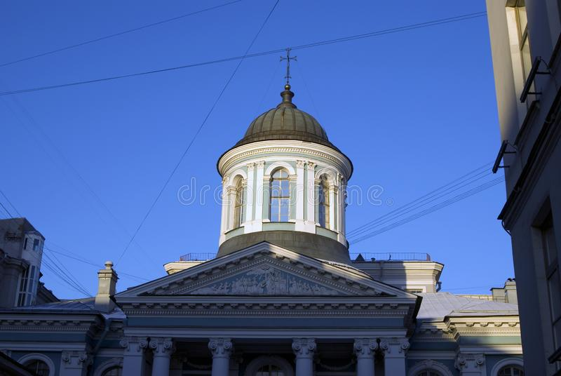 Saint Catherine cathedral. Historic building on the Nevsky prospect in Saint-Petersburg, Russia. Currently this is a bookstore. Popular landmark royalty free stock photo