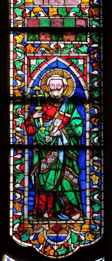 Saint catholique, fenêtre en verre teinté dans les Di Santa Croce de basilique à Florence images libres de droits